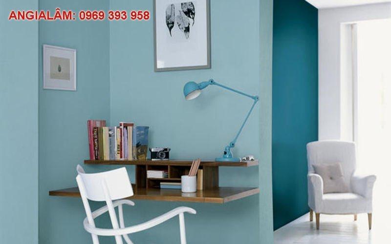 hính nhà sơn màu xanh