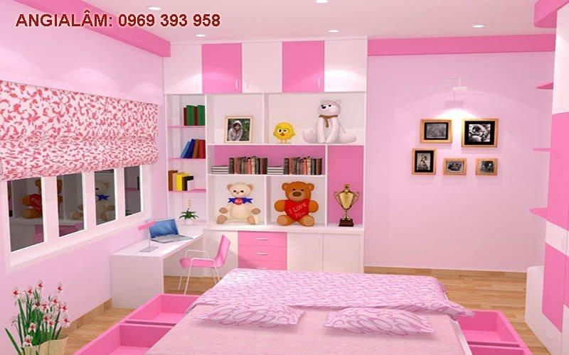 sơn màu hồng cho phòng con gái