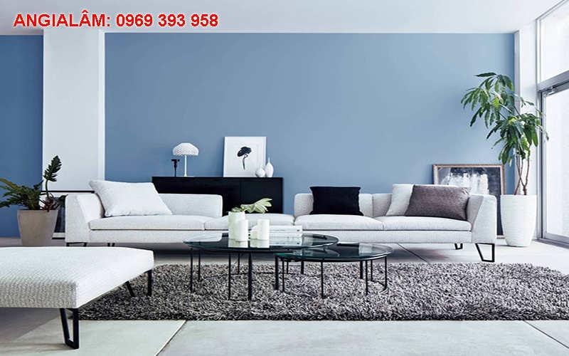 sơn phòng khách màu xanh