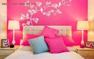sơn phòng ngủ màu hồng