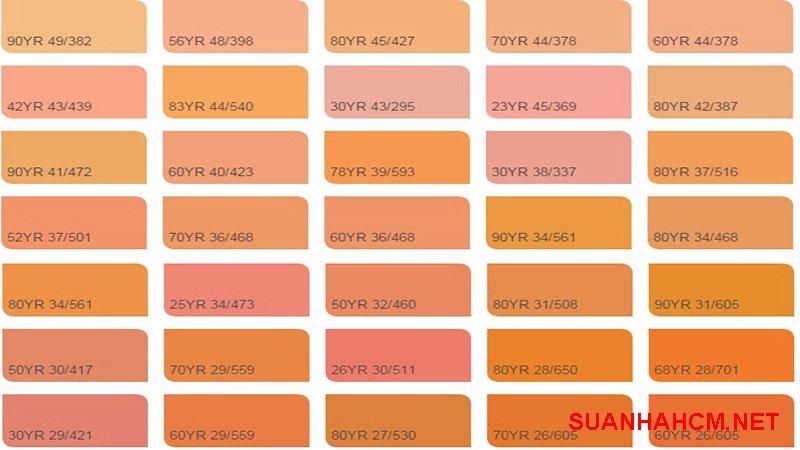 bảng màu sơn nhà màu cam