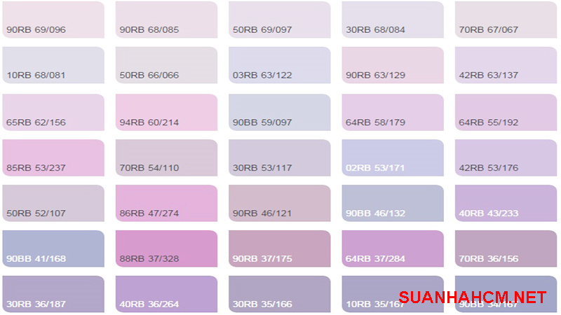 bảng màu sơn tường màu tím