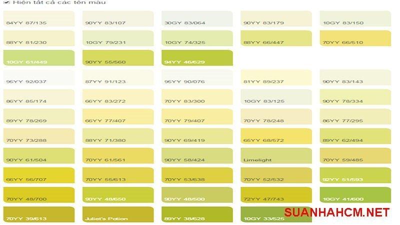 bảng màu sơn màu vàng chanh