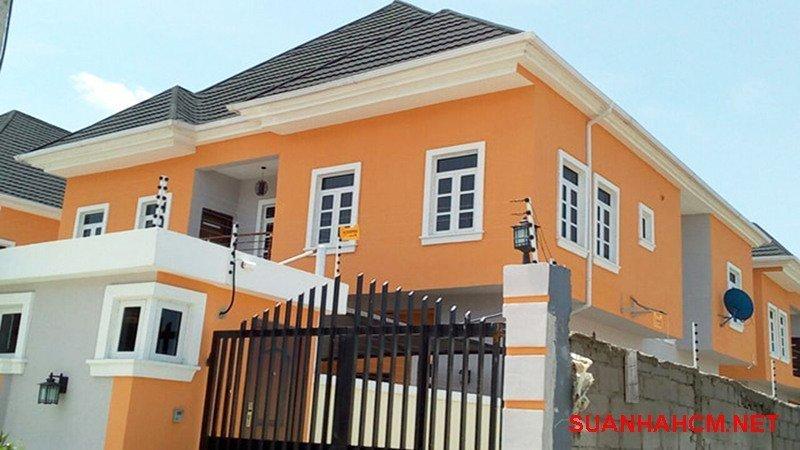 sơn mặt tiền nhà màu cam đất