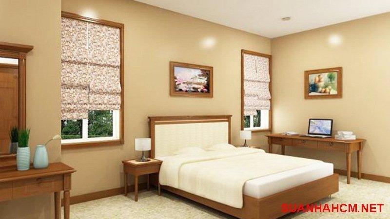 sơn phòng ngủ màu nâu đất