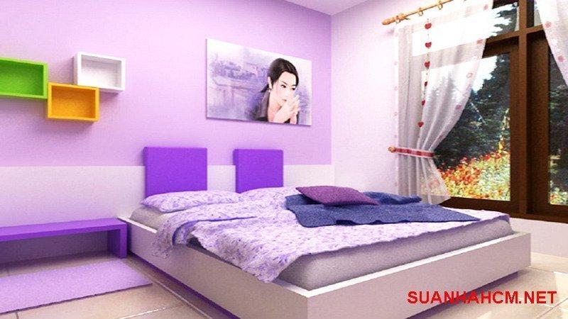 sơn phòng ngủ màu tím khoai môn