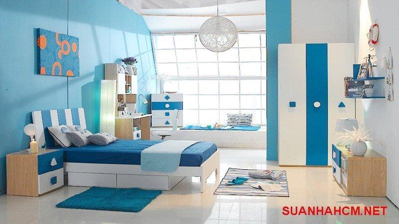 sơn phòng ngủ màu xanh dương