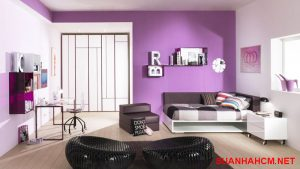 sơn tường trong nhà màu tím