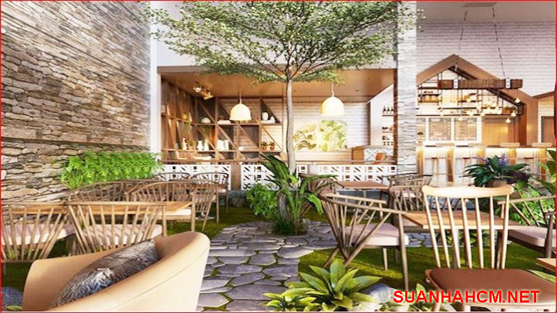 thiết kế quán cafe kết hợp cây xanh